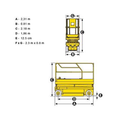 Габариты электрического ножничного подъемника Haulotte Compact 10N